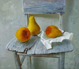 Birnen auf dem Stuhl