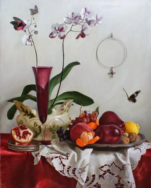 Orchidee und Granatapfel
